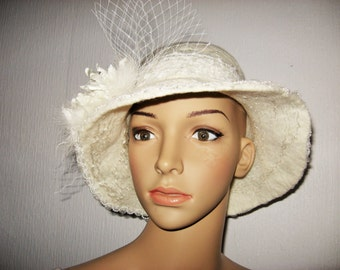 Womens FELTED CLOCHE Hat,  White Felt Winter Hat,  One of Kind Designer Wedding  hat