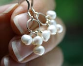 White Freshwater Pearl Earrings . White Pearl Hoop Earrings . White Pearl Earrings . June Birthstone Jewelry - Decca Collection . Trio NEW
