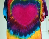 Tie Dye Top Blouse in Heart Rainbow Swirl