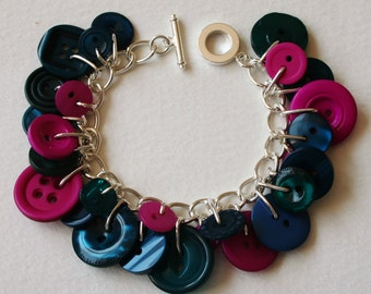 Button Bracelet Hot Pink and Teal