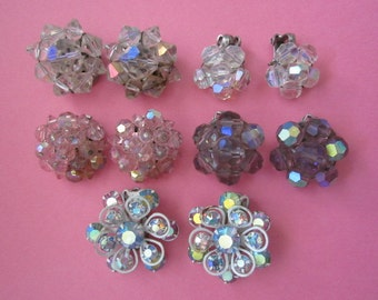 DeStash 5 Pairs aurora crystal bead and rhinestone Clip Earrings