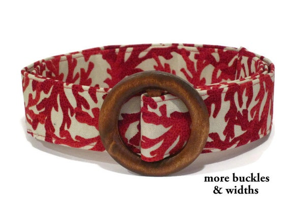 coral belt white fabric belt wide belt by