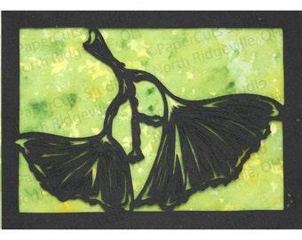 Ginkgo ACEO Papercutting, Handcut Original, Watercolor