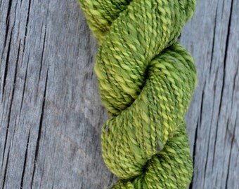 Green Handspun Plied Yarn in Wool and Bamboo - Bright and Dark Green Barberpole Plies Thick & Thin Fingering to DK weight. About 90 yards.