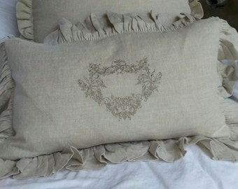 Linen Pillow with French Crest Embroidery