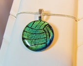 Volleyball Necklace Pendant - Water Polo Necklace Pendant - Dichroic Fused Glass - green/gold - Free Shipping