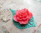 Pink coral and turquoise necklace summer flower necklace large pendant silver chain Colorful jewelry