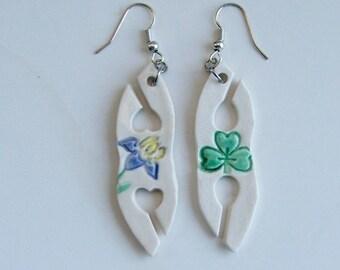 Handmade Porcelain Earrings, Hand Painted Tatting Shuttles