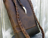 Rustic Brown Bison Leather Bucket Cross Body Bag by Stacy Leigh Ready to Ship