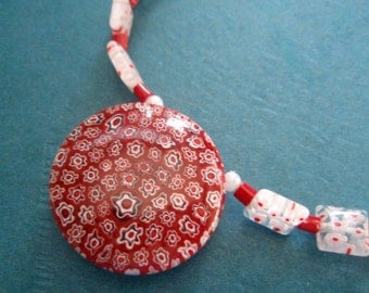 Red and White Necklace/Earring Set