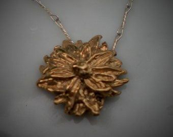 Handmade Pure Bronze Geranium Flower Necklace with Sterling Silver Chain and Tourmaline Beads