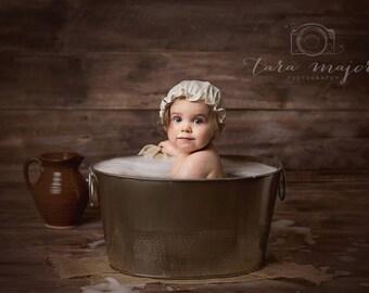 Shower Cap Bonnet - Baby Children Photography Prop - Retro Rockabilly Bathing Cap