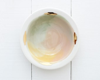 Denali Porcelain Bowl // Handpainted Organic Bowl in Pink, Yellow, and Mint Green // Perfect for an Organic Modern Kitchen