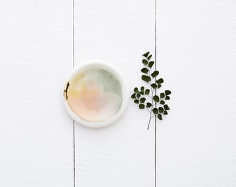 Denali 14k Gold Porcelain Set of 4 Small Dipping Plates // From Canyon Series // Modern, Organic Home Goods