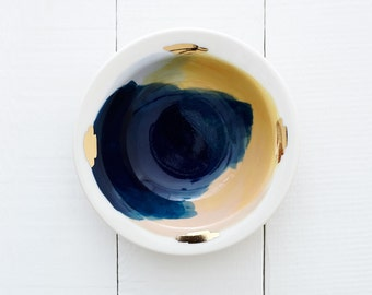 Zion Porcelain Bowl // Handpainted Organic Bowl in Pink, Yellow,Sky & Teal Blue // Perfect for an Organic Modern Kitchen