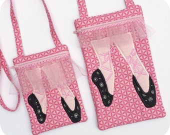 In the Hoop Ballet Shoe Purse Set Machine Embroidery Design Files Instant Download