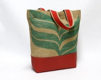 Recycled Burlap Coffee Sack Market Tote Bag
