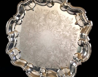 "FB Rogers 1883 Silverplate Tray 14"" Trademark Silver Plated Platter Scalloped"