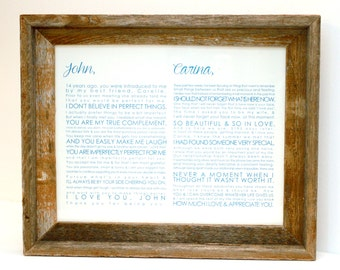 FRAMED Wedding Vows, First Christmas Married, One Year Anniversary, Personalized Gift, Framed Wedding Keepsake, Horizontal #1501