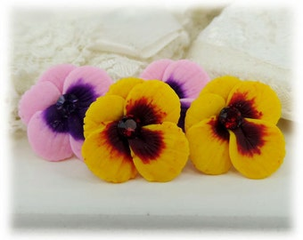 Pansy Earrings Stud or Clip On - Pansy Jewelry