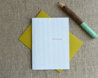 Letterpress Greeting Card - Thank You Card - Chevron Illustration Pattern - EGP-189