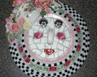 MOSAIC FACE SCULPTURE, Roses, Art Deco