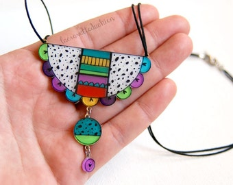 Bib necklace, Colorful bib flower pendant, Abstract illustrated jewelry, Geometric Statement necklace, Dangle pendant