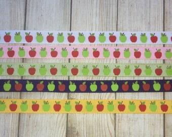 "3/8"" Apple Ribbon Grosgrain Ribbon 1 yd Ribbon by the Yard Back to School Ribbon Uniform Ribbon Teacher Ribbon Red Apple Green Apple Ribbon"