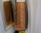 VTG 1980s 80s Patchwork Skirt Wrap Skirt Soft Plum Dusky Rose Muted Rose Damask Fabric Straight Skirt Ethnic Style Tribal Style Size Small