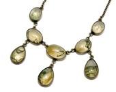 Antique Edwardian sterling silver bezel set moss agate drop necklace