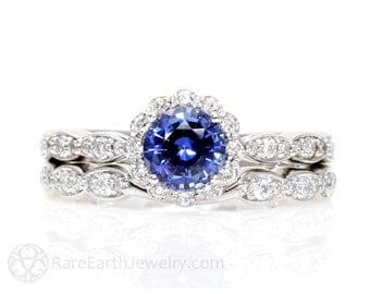 Blue Sapphire Engagement Ring Wedding Set Diamond Halo Sapphire Ring 14K or 18K Gold Custom Bridal Set