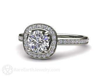 14K Diamond Semi Mount Engagement Ring Custom Cushion Halo Setting White Yellow Rose Gold Palladium Bridal Jewelry