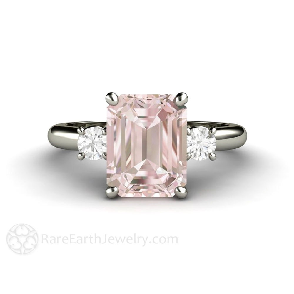 2ct Pink Morganite Ring Morganite Engagement Ring Emerald 3