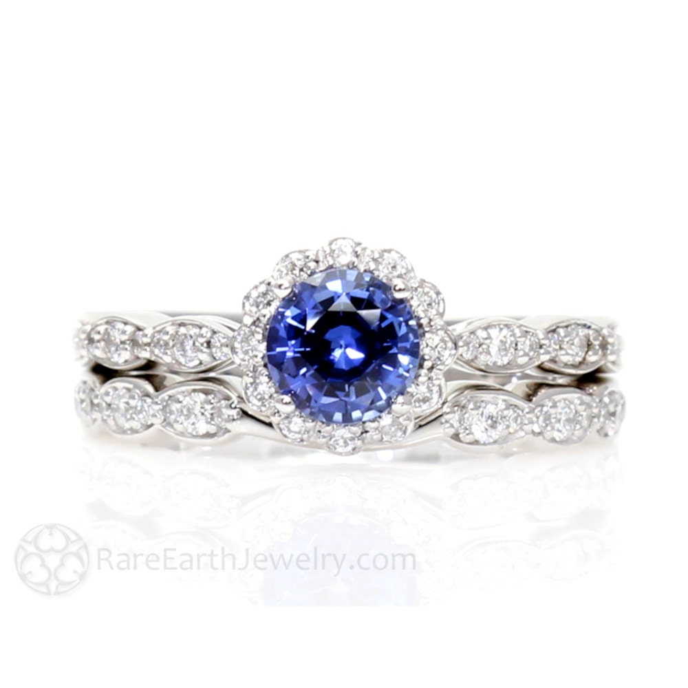 Blue Sapphire Engagement Ring Wedding Set Diamond by RareEarth