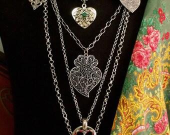 Portugal Viana hearts folk necklace gold filigree