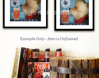 Yorkie Yorkshire Terrier dog brewing beer company illustration art giclee print by Stephen Fowler Pick A Size