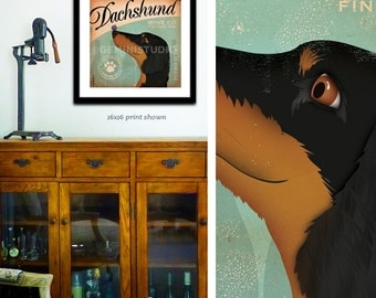 Dachshund dog Wine Company artwork graphic illustration signed artists print giclee by Stephen Fowler