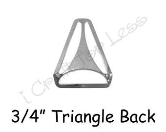 "25 Triangle Back Slide Adjuster - 3/4"" Suspender Clips / Hardware - Nickle Plated - SEE COUPON"