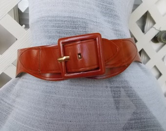 1950s leather waist BELT Elegant Brand in Wood Tone Finish ladies sz 28 Excellent Unused condition