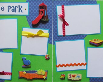 AT THE PARK boy girl 12x12 Premade Scrapbook Pages