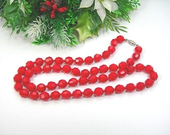 "Christmas Red Glass Beads Necklace, Faceted Glass Beads, 26"" Long, Vintage 1950-60s Costume Jewelry"