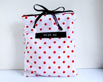 Travel Underwear Bag, Red and White Polka dot