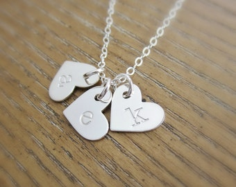 Gift for Grandma necklace, Mothers necklace, Personalized jewelry, handstamped heart initial necklace, childrens initials, sterling silver