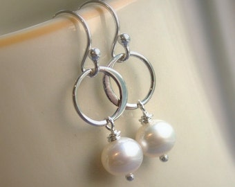 Freshwater pearl earrings, cream pearls, solid sterling silver hoops, silver earrings