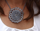 Silver Sunflower Necklace, Beaded Crochet Pendant, Silver, Chambray, Flower Crochet, Pendant Necklace, Jewelry, Gift for her,