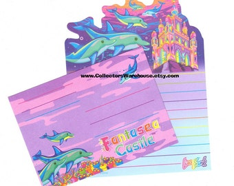 Lisa Frank Fantasea Castle mini Die cut Stationery Sheet w/ envelope dolphins