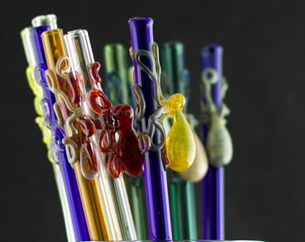 Octopus Glass Straw You Choose the Color, Made to Order
