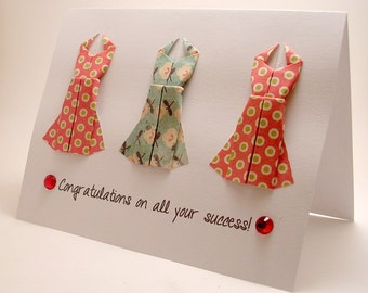 Origami Dress Congratulatory card (Red Blue)
