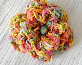 Crochet Flower Pin - Bright Multicolor Crochet Flower Brooch