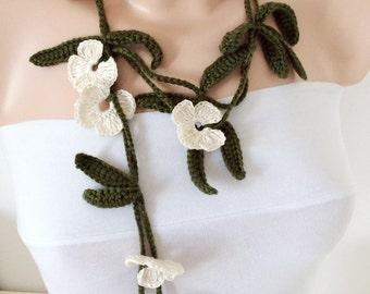 Dark Green Leaf and Ivory, Cream Flower Cotton Necklace, scarf, lariat